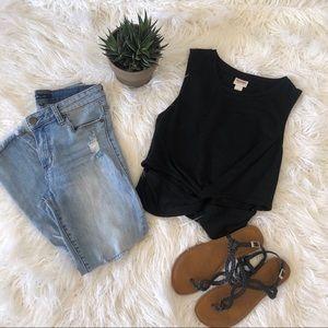 Super soft, black,  front knot, crop top